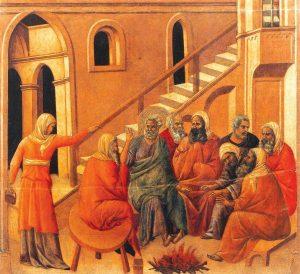 Negação de São Pedro (La Maestà, detalhe) Duccio di Buoninsegna, séc. XIV. Museo dell'Opera del Duomo, Siena.