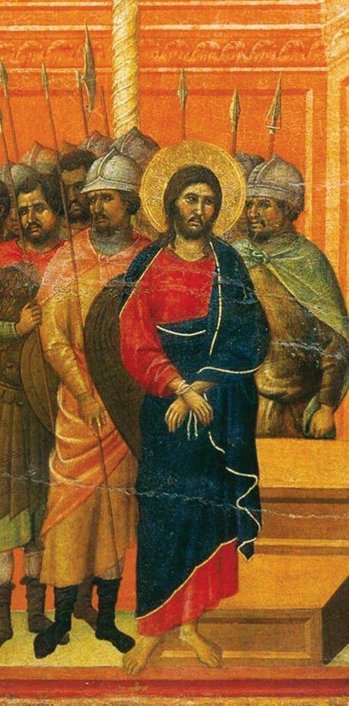 Aceitando esses ultrajes, cumpria Jesus a profecia de Isaías: Não desviei o meu rosto dos que me ultrajavam e me cuspiam (Is 50, 6). (La Maestà, detalhe) Duccio di Buoninsegna, séc. XIV. Museo dell'Opera del Duomo, Siena.