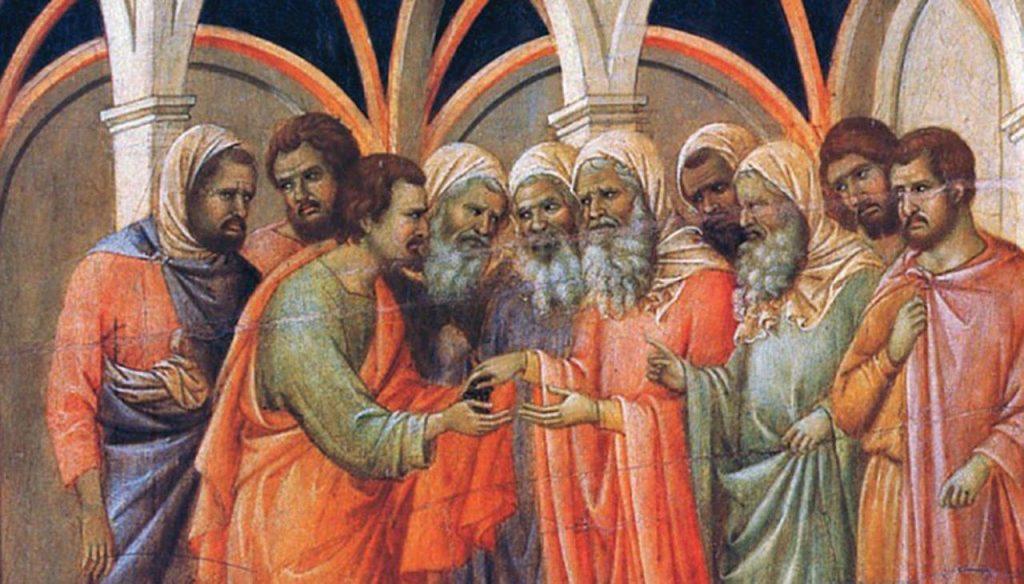 Judas recebe as 30 moedas (La Maestà, detalhe) – Duccio di Buoninsegna, séc. XIV. Museo dell'Opera del Duomo, Siena.