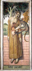 O demônio tira a alma de Judas Giovanni Canavesio, 1491. Chapelle Notre-Dame des des Fontaines, La Brigue, França.