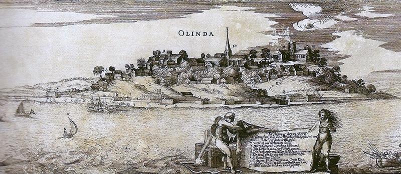 Gravura representando a cidade de Olinda na época colonial