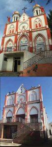 Fotos da Igreja Católica de Xinjiang, antes e depois de ser profanada por agentes do regime comunista