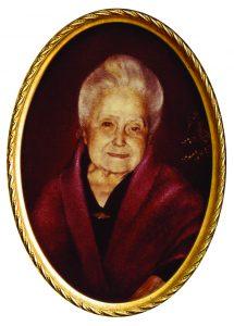 Pintura a óleo de Da. Lucilia, representada no último ano de sua existência terrena, aos 92 anos
