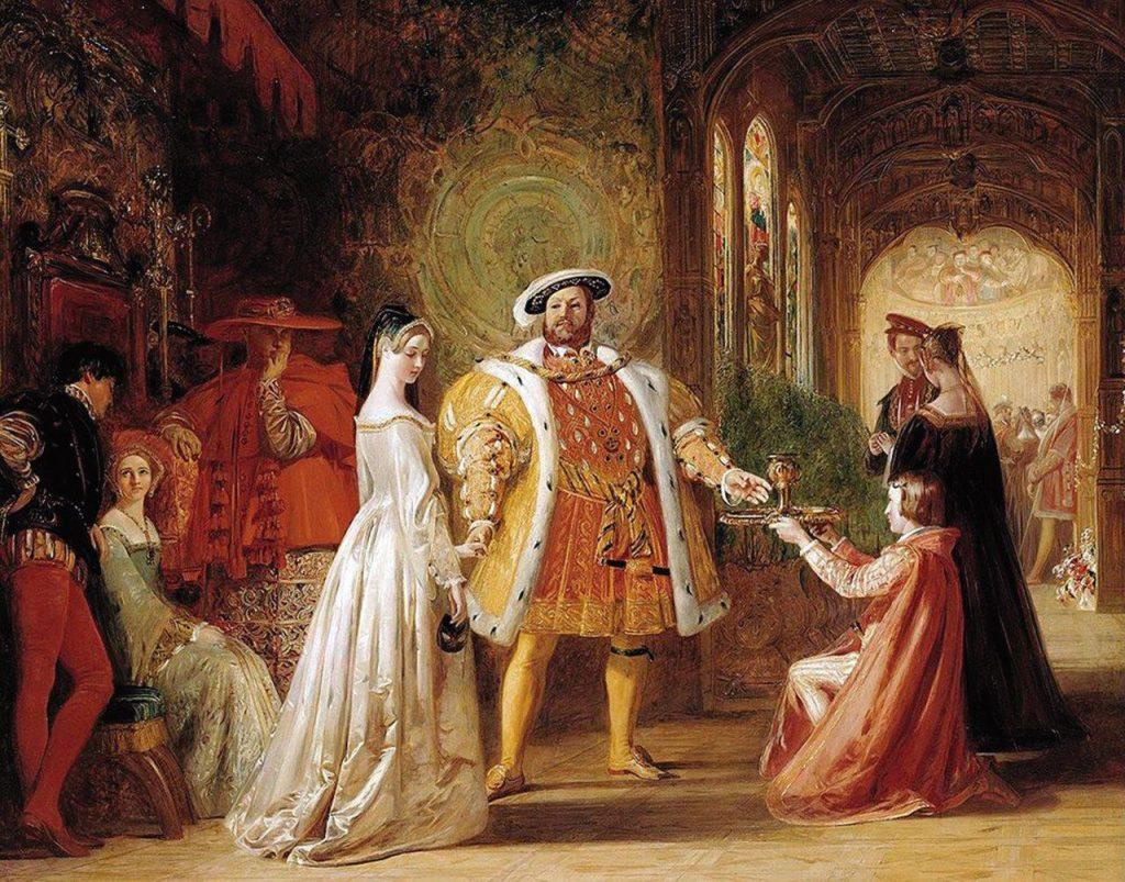 O relativismo moral de Henrique VIII teve como consequências o repúdio de sua legítima esposa, a ruptura com Roma e o nascimento da herética igreja da Inglaterra. (Primeiro encontro de Henrique VIII com Ana Bolena - Daniel Maclise (1806 - 1870). British Institution, Londres).