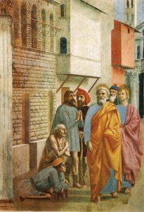 A sombra de São Pedro cura um enfermo – Masaccio, séc. XV. Cappella Brancacci, Santa Maria del Carmine, Florença (Itália).