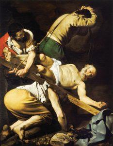 Crucifixão de São Pedro Caravaggio (1571–1610). Basílica de Santa Maria do Povo, Roma.