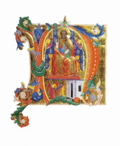 Letra capitular N representando São Pedro entronizado e, embaixo, a sua libertação – Cenni di Francesco di Ser Cenni, 1380. Walters Art Museum, Baltimore (EUA).