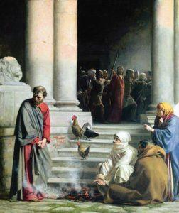 A negação de São Pedro – Carl Heinrich Bloch, séc. XIX. Brigham Young University Museum of Art, Utah (EUA).