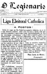 """Anúncio da criação da Liga Eleitoral Católica no jornal """"Legionário"""" de 15 de janeiro de 1933. (Clique aqui para ler o manifesto da LEC)."""