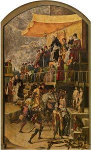 """Pintura de Pedro Berruguete (séc. XV) representando um """"auto-de-fé"""" dirigido por São Domingos de Gusmão (na tribuna) em Tolosa, por volta de 1208."""