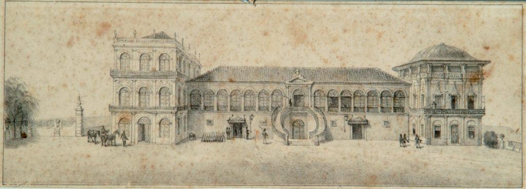 Litografia do Paço de São Cristóvão em meados do séc. XIX, por Jean-Baptiste Debret. Nesta época um outro torreão já havia sido acrescentado.