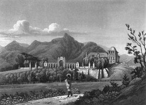 Vista da quinta com o Paço de São Cristóvão por volta de 1820, antes da reforma neoclássica. O edifício tinha um único torreão. O portão em frente ao paço encontra-se atualmente na entrada do Jardim Zoológico da Quinta da Boa Vista.