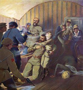 Massacre da família imperial, e de alguns de seus incondicionais acompanhantes, no porão da casa de Ipatiev, em Yekaterinburg.