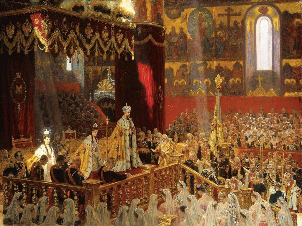 Coroação de Nicolau II – L.Tuxen, 1898. Museu Hermitage, São Petersburgo (Rússia).