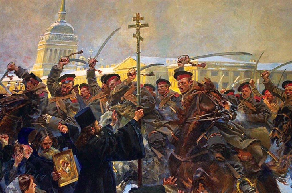 """O pope Gapon enfrenta a tropa de cossacos no trágico """"domingo sangrento""""."""