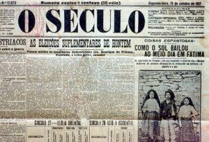 """O jornal português """"O Século"""" registra o milagre do sol"""