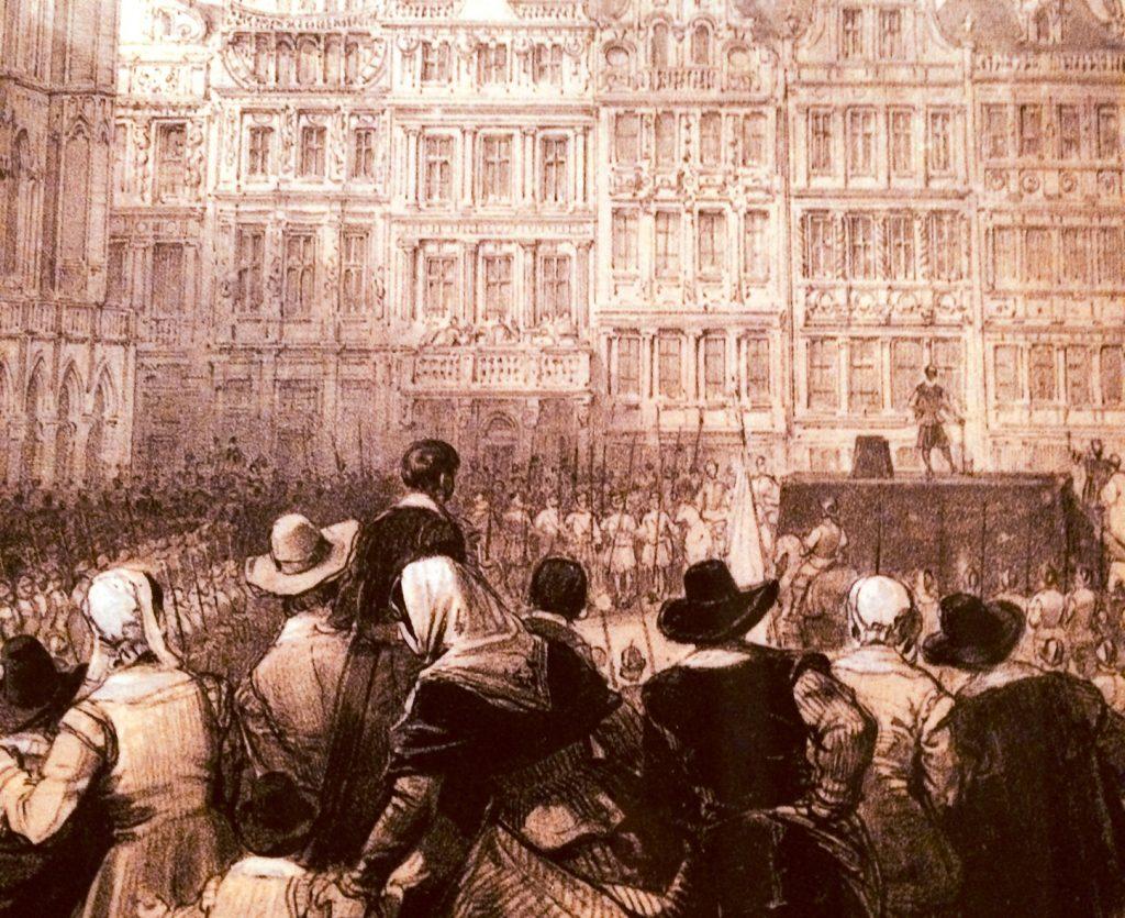 Gravura representando uma execução em Bruxelas (Bélgica). No cadafalso, o carrasco aguarda o término da última confissão que o condenado faz ao sacerdote