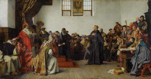 Lutero na Dieta de Worms diante de Carlos V – Anton von Werner, 1877. Staatsgalerie Stuttgart, Alemanha.