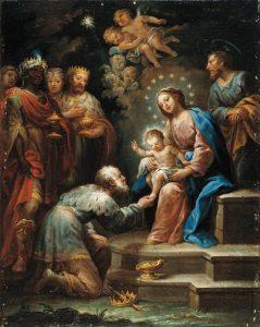 Adoração dos Reis Magos – Jerónimo Ezquerra, séc. XVII. Coleção Carmen Thyssen-Bornemisza, Madri.