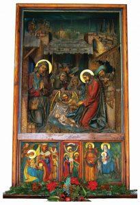 Painel representando o Natal, que se encontra no interior da Capela de Oberndorf