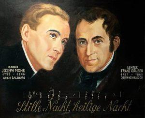 O Pe. Joseph Mohr e Franz Xaver Gruber, autores, respectivamente, da letra e da música do Stille Nacht