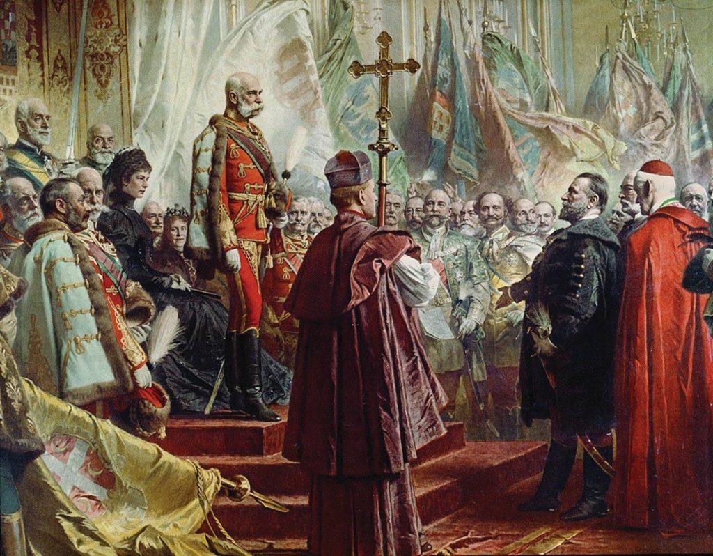 O Imperador Francisco José I e a Imperatriz Elizabeth nas comemorações do milênio da Hungria – Gyula Benczúr (1844-1920). Coleção Particular.