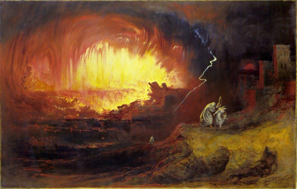 """""""A destruição de Sodoma e Gomorra"""", pintura do artista inglês John Martin (1852). Retrata a destruição das duas cidades por castigo de Deus, conforme registra o Gênesis, devido à prática do homossexualismo."""