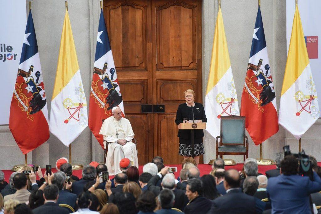 O Papa Francisco no Palácio de La Moneda durante sua visita ao Chile