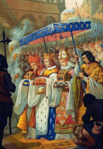 São Luís, Rei da França (no centro), conduz a Coroa de Espinhos para a Sainte Chapelle, em Paris.