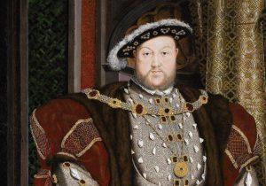 Henrique VIII, negando a supremacia do Papa, se distanciou da Igreja Católica até cair em heresia, dando origem à igreja anglicana. Retrato de Henrique VIII (detalhe) Hans Holbein, O Jovem, séc. XVI. Walker Art Gallery, Liverpool, Reino Unido
