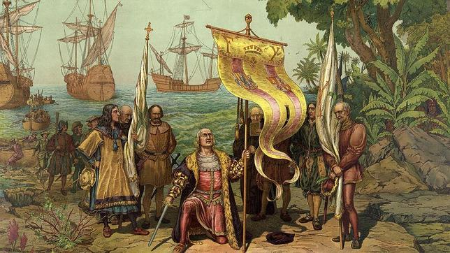 Em 12 de outubro de 1492, chegada de Cristóvão Colombo à América