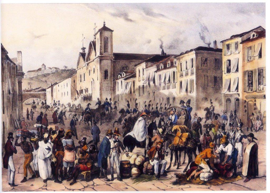 Rio de Janeiro durante o I Império: Passagem do Imperador pela Rua Direita.  Gravura de Rugendas