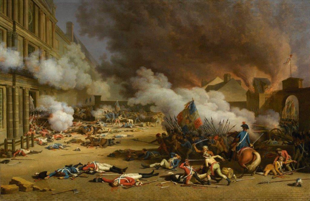 O palácio das Tulherias foi invadido e a guarda suíça massacrada