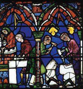 Vvitrais de Chartres representando cenas                          da construção