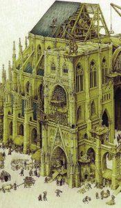 Reconstituição artística de como se construía uma catedral