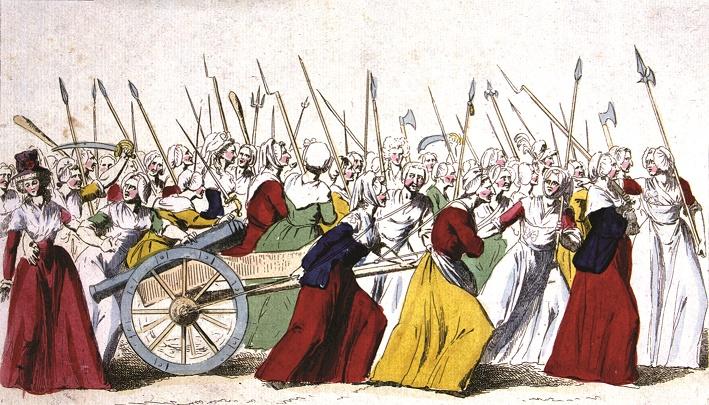 Em 5 de outubro de 1789, mulheres revolucionárias marcham de Paris a Versailles para atacar o palácio e                                            aprisionar o rei e a rainha