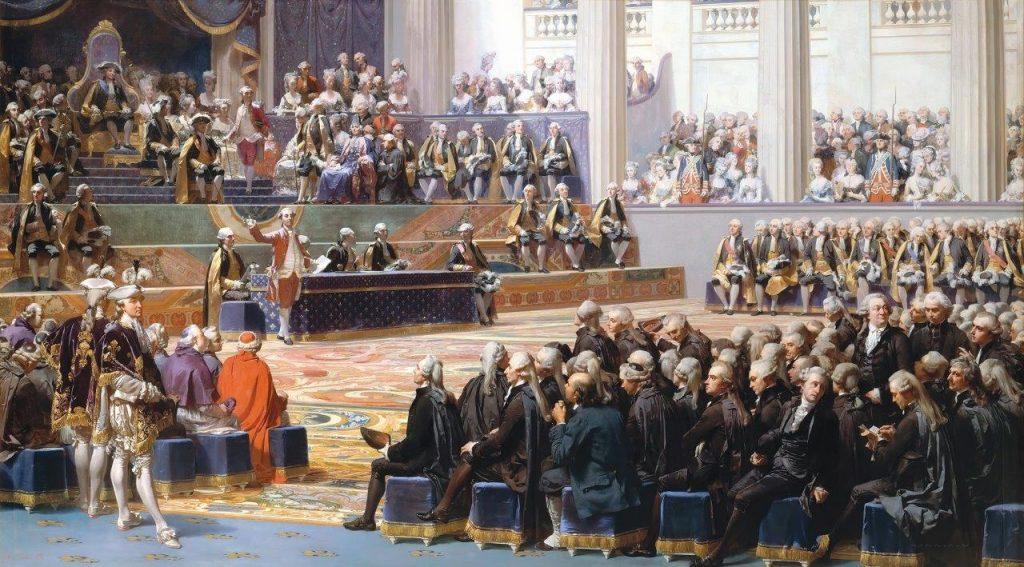 Inauguração dos Estados Gerais – Auguste Couder  (1789–1873). Musée national du château et des Trianons, Versailles.
