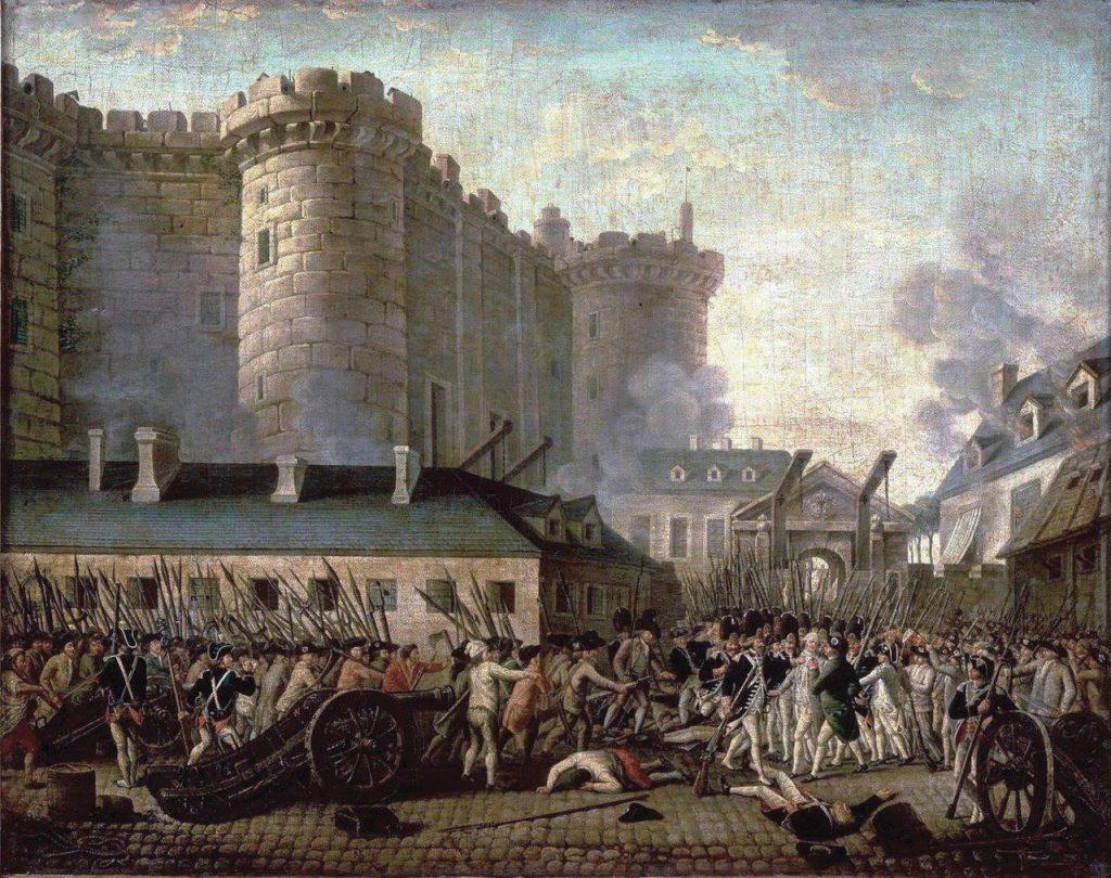 Queda da Bastilha e prisão do governador M. de Launay, 14 de Julho de 1789 – Anônimo. Museu de História da França, Versailles.