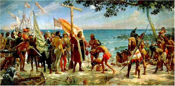 Pintura de José Garnelo Alda (1866-1945), feita em 1892 para comemorar o IV Centenário do Descobrimento da América. Exposta no Museu Naval de Madrid. Colombo chega à América e com ele a Cruz de Cristo