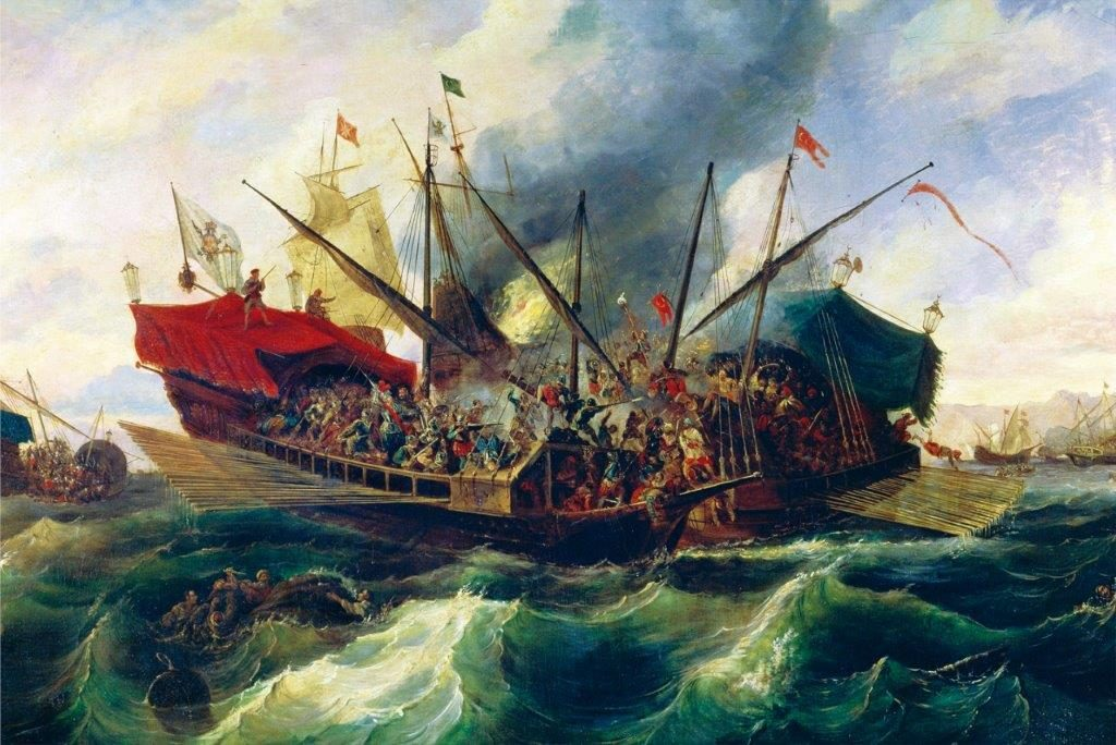 Represenatção do entrechoque das naus capitânias durante a Batalha de Lepanto