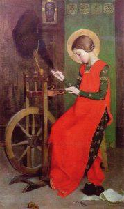 Santa Isabel menina fiando para os pobres – Marianne Stokes, 1895. Coleção privada.