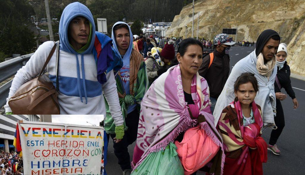 Venezuelanos em fuga pela fronteira com a Colômbia